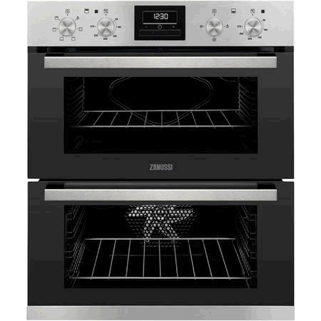 ZANUSSI Built In Double Oven with Timer, Clear enamel liners,LED digital display, Anti-fingerprint stainless steel.