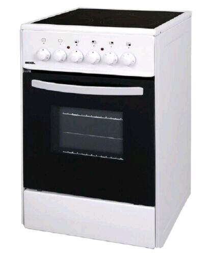 Bexel 60cm Electric Cooker Ceramic Hob Single Oven Cooker White