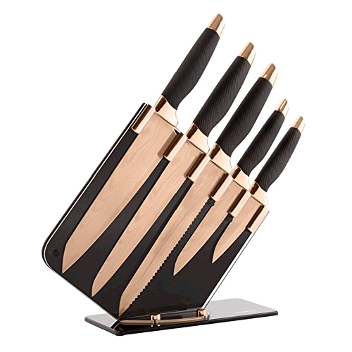Tower T81532RD Damascus Effect Knife Set with Stainless Steel Blades and Acrylic Stand, Rose Gold Black, 5-Piece