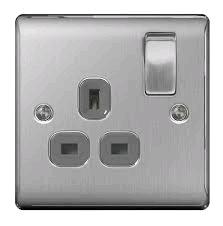 BG 13a DP Single Socket Brushed Steel