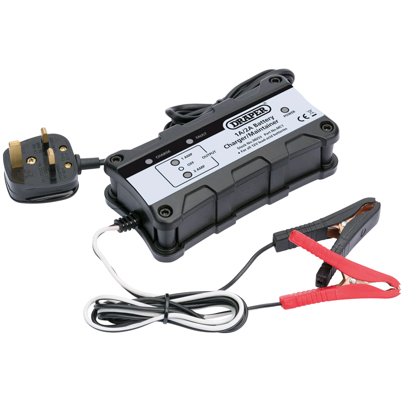 Draper 1A/2A Battery Charger/Maintainer