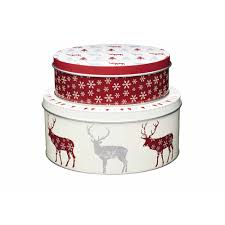 KITCHENCRAFT KCXMTINSET2 CHRISTMAS CAKE TIN SET OF 2