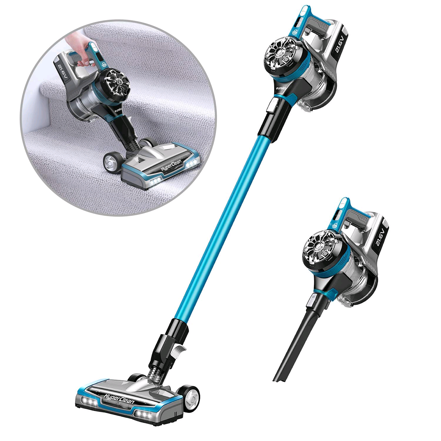 Swan Eureka SC15820N, HyperClean Cordless 3-in-1 Vacuum, Handheld, 21.6V Lithium-ion, Wall Mount, Turbo Mode, LED Lights and Lightweight Design