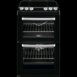 ZANUSSI Black 55cm Enamel Lined Double Oven with Ceramic Hob