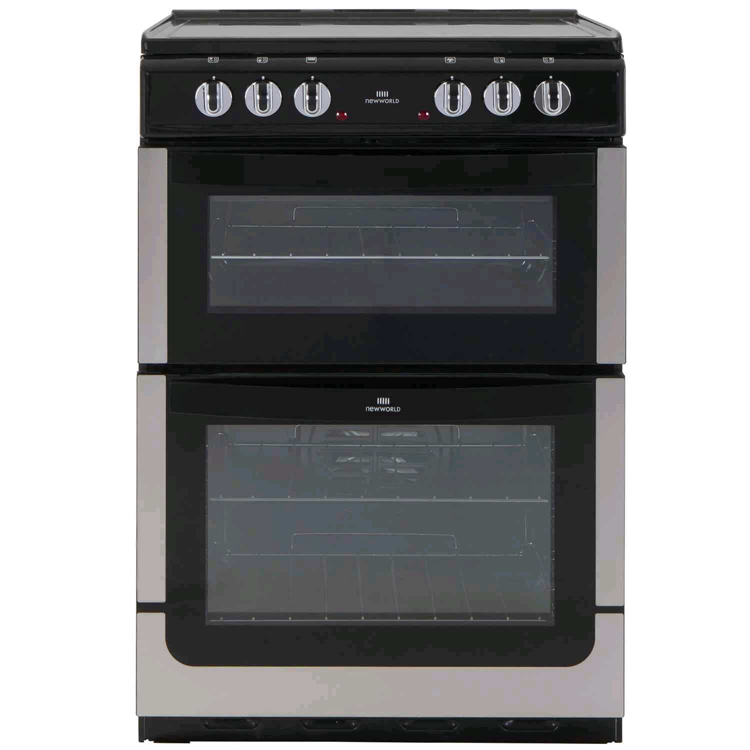 New World Twin Cavity Electric Cooker Ceramic Top Black/Silv