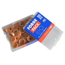 Forgefix No. 6-8's Hinged Domed Cover Caps (Pack of 20) Light Brown Plastic
