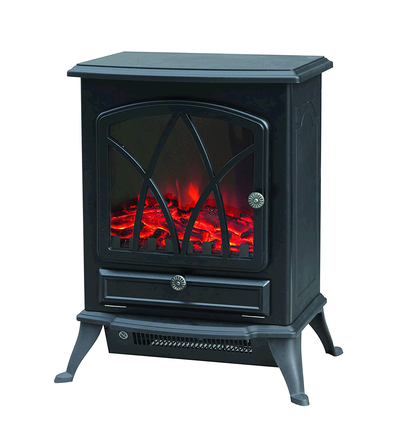 Warmlite WL46018 Electric Fire Stove with Realistic LED Log Flame, 2000 W - Black