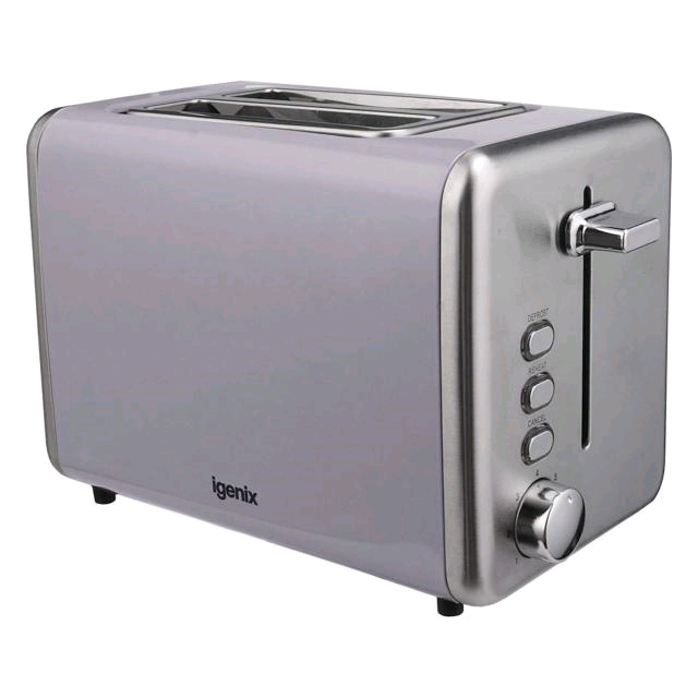 Igenix 2 Slice Toaster Grey Metal