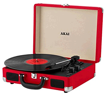 Akai Bluetooth Rechargeable Record Player in Red c/w 5w Built-In Speakers