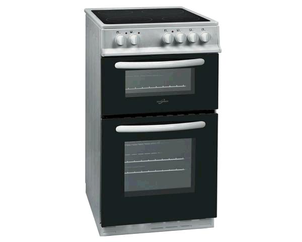 Statesman EDC50S 50cm Double Oven Ceramic Hob Cooker - Silver  58/48 net litre capacity