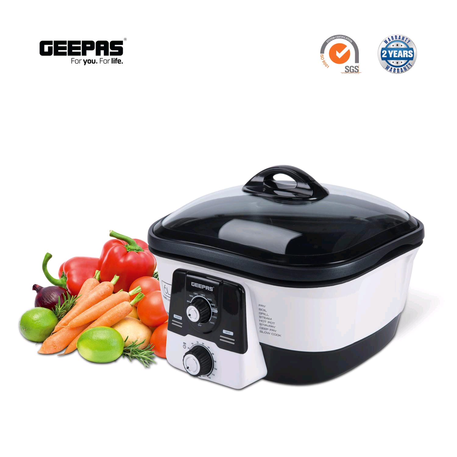 Geepas 8 In 1 Multicooker 6Litres Non Stick Inner Pot