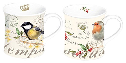 STOW GREEN 3500 SONGBIRD PORCELAIN MUGS X2 GIFT BOXED