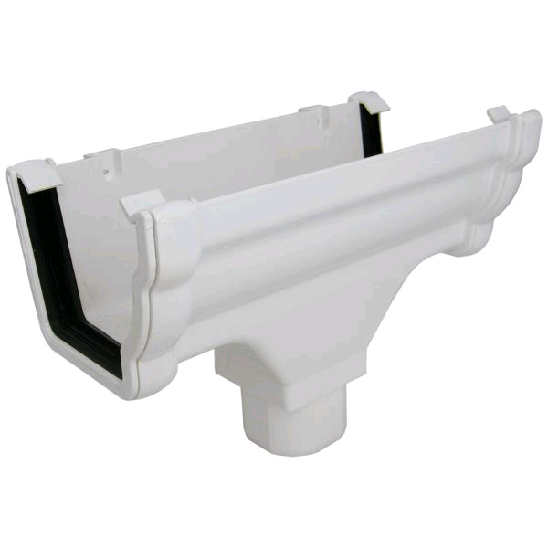 Floplast Niagara Square Guttering Running Outlet White