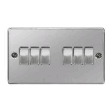 BG Nexus 6g 2way Switch Brushed Steel
