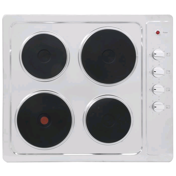 Montpellier 60cm Electric Solid Plate Hob Stainless Steel Black Knobs