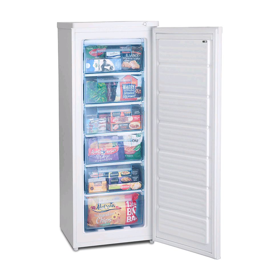 Iceking RZ203AP2 Tall Upright Freezer 163Litre 6 Transparent Drawers A+ H1440xW545xD570