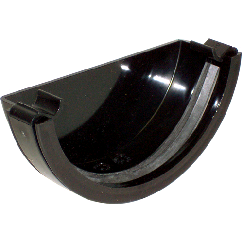 Gutter 112mm Half Round External Stop End Black