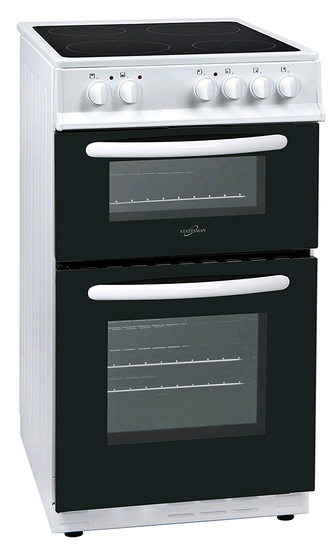 Statesman EDC50W 50cm Double Oven Ceramic Hob Cooker - White 58/48 net litre capacity