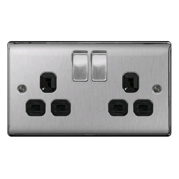 BG Twin 13a Socket Brushed Steel Black Insert