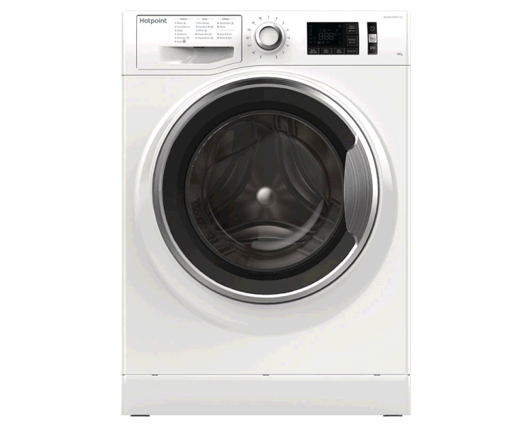 Hotpoint NM11946WCA Washing Machine 10KG 1400 Spin A+++ Steam Pack Rapid  Stop and Add WHITE Large display
