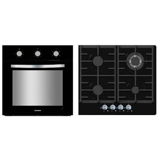 Montpellier SFGP12 Electric Single Oven And Gas on Glass Hob Pack with Cast Iron Supports