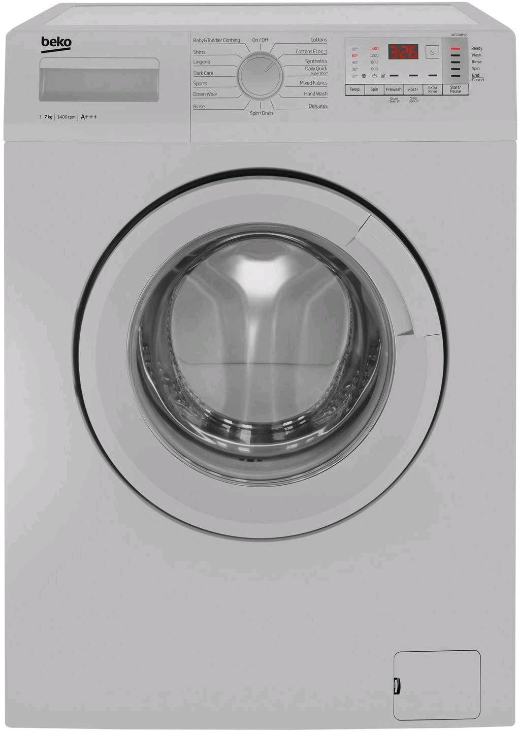 Beko WTG741M1S Excellence 7kg 1400rpm Freestanding Washing Machine - Silver