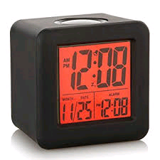 Acctim Vanos LCD Alarm Clock With Black Silicon Rubber Case