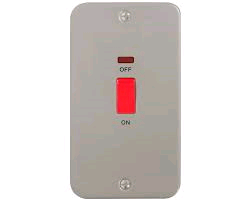 BG Metal Clad 45a DP 2gang Switch & Neon