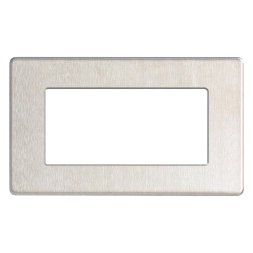BG Euro Module 4Gang Faceplate Brushed Steel Screwless Flatplate