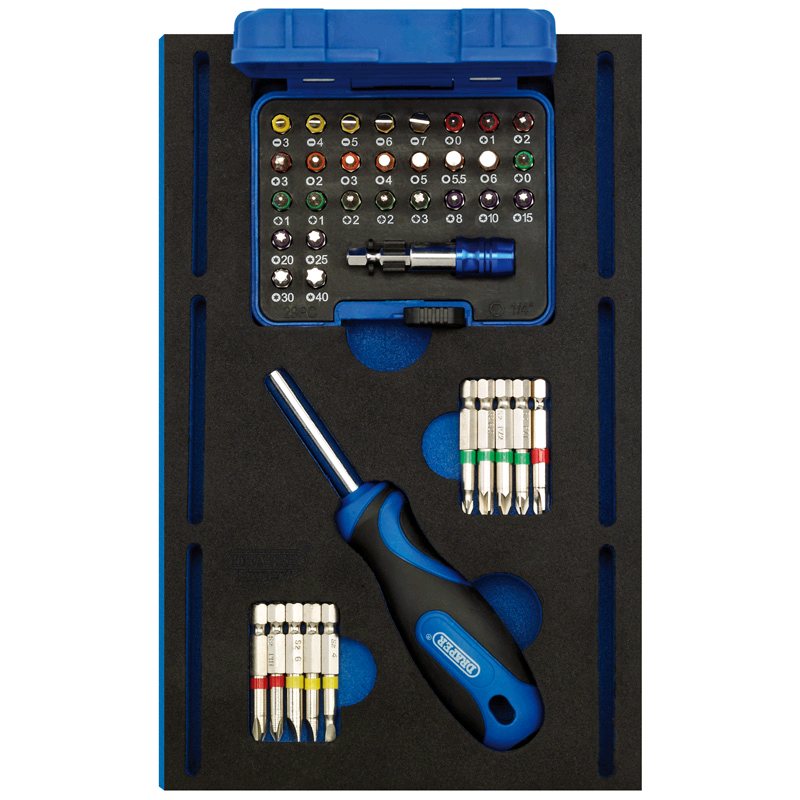 Draper Screwdriver Insert Bits and Driver in 1/4 Drawer EVA Insert Tray (40 Piece)
