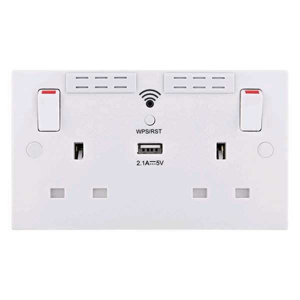 Bg Nexus 13a Twin Wi-Fi Extender Socket with 1 x USB