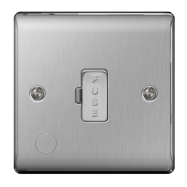 BG Fused Spur 13a c/w Cable Outlet  Brushed Steel
