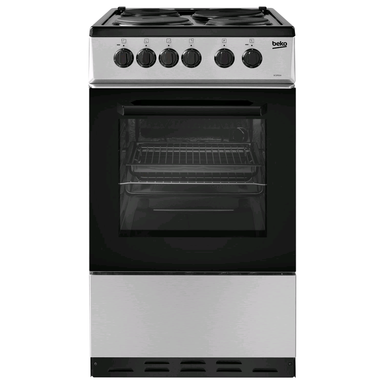 Beko Stainless Steel 60l conventional single oven cooker