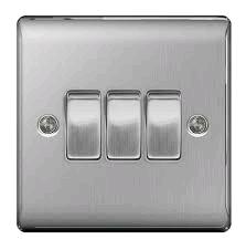 BG Nexus 3g 2w Switch Brushed Steel