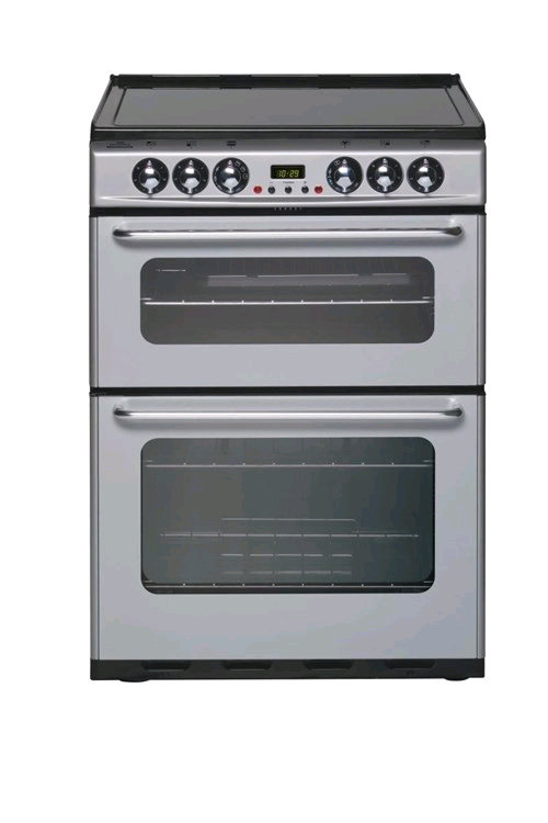 New World NHEC600DOM 60cm Freestanding Double Oven Cooker Silver Minute Minder
