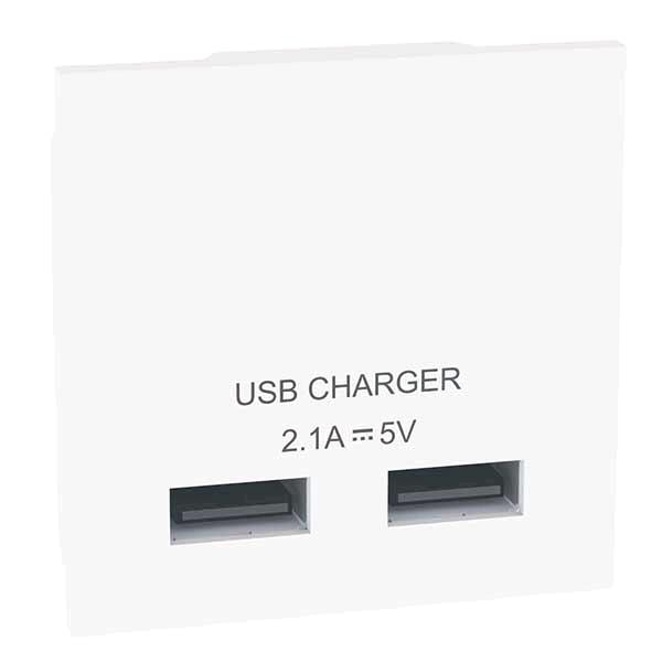 BG Euro Module USB Charger Module White