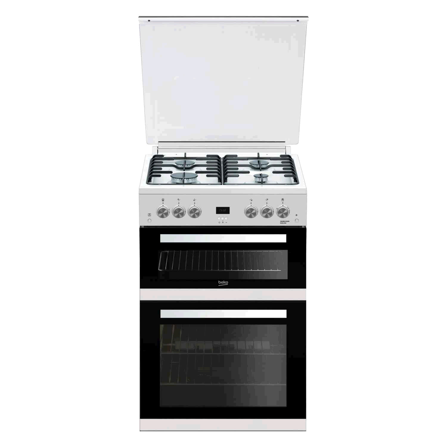 Beko Double Oven Gas Cooker White 60cm LPG Convertible Glass Lid