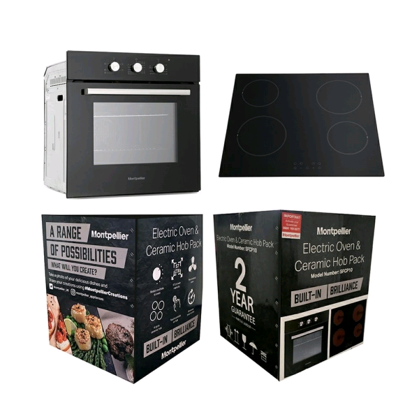 Montpellier SFCP10 Electric Single Fan Oven And Ceramic Hob Pack