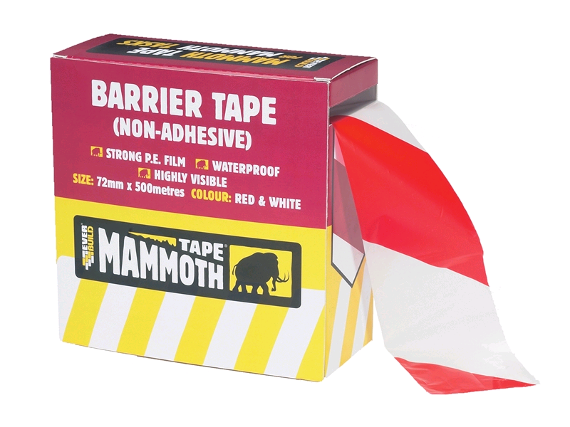 Barrier Tape Red/White 72mm x 500mtr