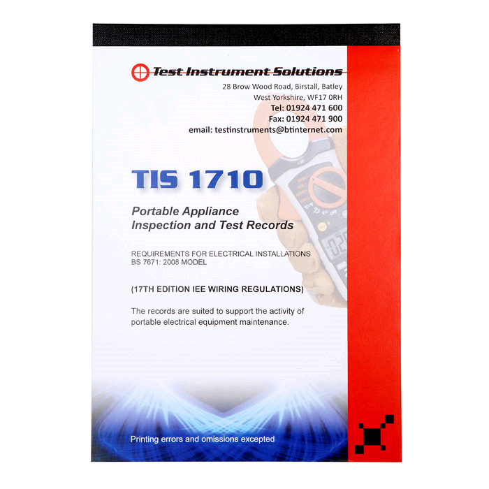 TIS Portable Appliance Test Certificate Pad