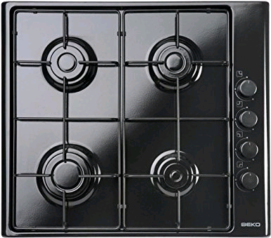 Beko Built In Gas Hob Mains or LPG Black 60cm