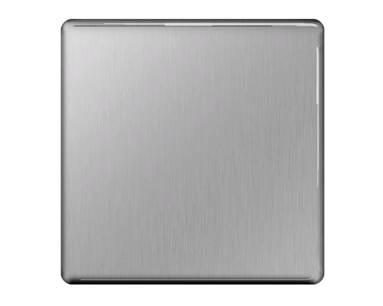 BG 1 Gang Blank Plate Brushed Steel