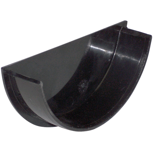 Gutter Half Round 112mm Internal Stop End Black