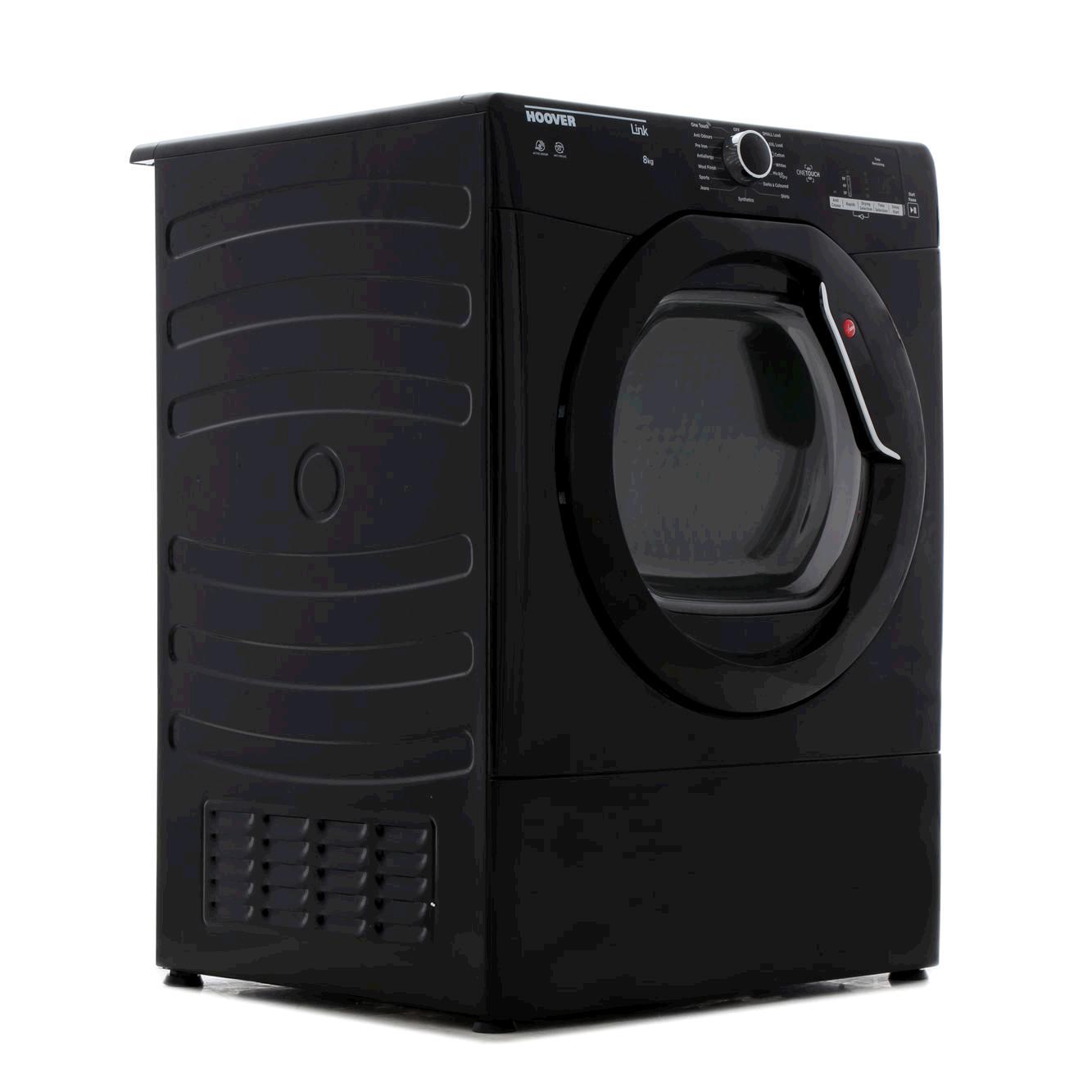 Hoover HLV8DGB  8kg , Vented, Sensor Tumble Dryer BLACKChrome Glass Door LED Display