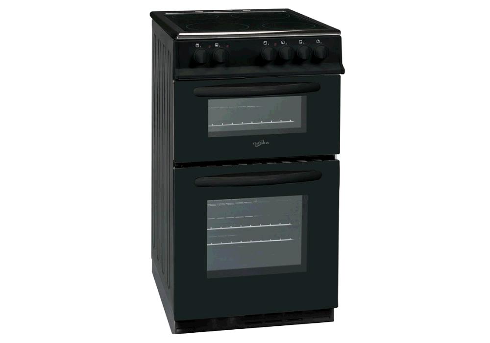 Statesman EDC50B 50cm Double Oven Ceramic Hob Cooker - Black 58/48 net litre capacity