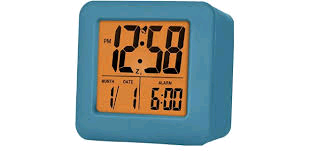 Acctim Vanos LCD Alarm Clock With Rubber Case in Storm Blue