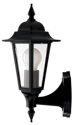 JCC Montella Mains Wall Lantern Uplight Black