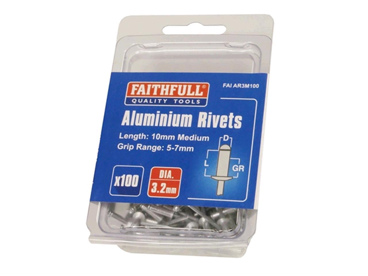 Faithfull Aluminium Rivets 5 x 7mm Medium 100pk