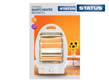 Status Quartz Heater 800w 2 Heat Settings White