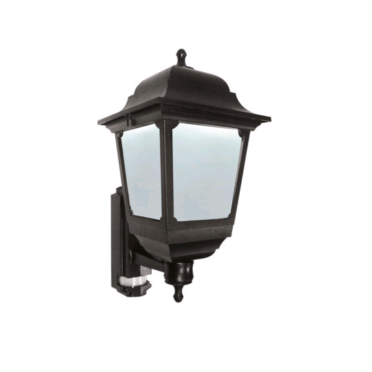ASD Square Sided Coach Lantern Black c/w PIR